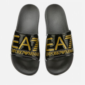 Emporio Armarni EA7 Men's Logo Slide Sandals - Black/Gold