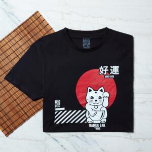 Ramen Glückliche Katze T-Shirt - Schwarz