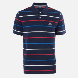GANT Men's Breton Stripe Pique Short Sleeve Rugger Polo Shirt - Multcolour