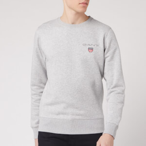 GANT Men's Medium Shield Crew Neck Sweatshirt - Light Grey Melange