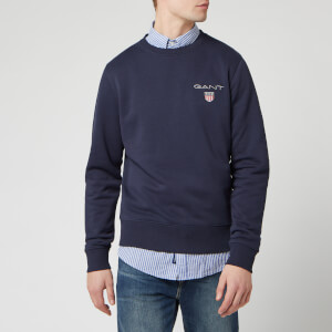 GANT Men's Medium Shield Crew Neck Sweatshirt - Evening Blue