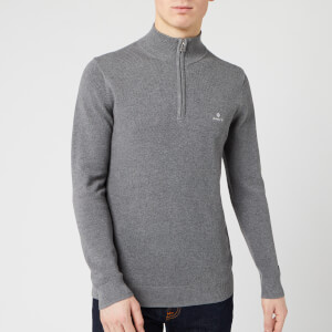 GANT Men's Cotton Pique Half Zip Sweatshirt - Dark Grey Melange