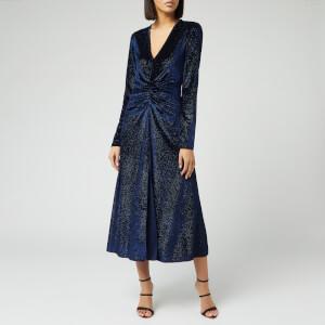 ROTATE Birger Christensen Women's Number 7 Velvet Dress - Twilight Blue
