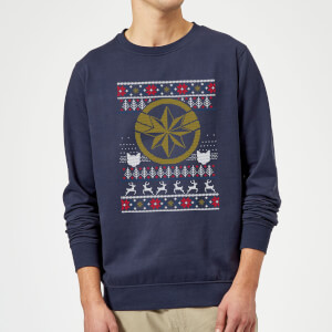 Captain Marvel Christmas Sweater - Navy
