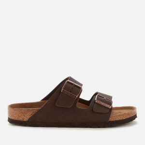 Birkenstock Men's Arizona Saddle Matt Vegan Double Strap Sandals - Brown Veg