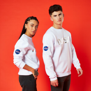 Nasa Metallic Logo Unisex Sweatshirt - White