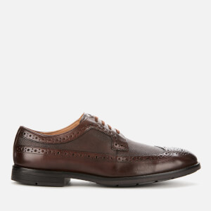 Clarks Men's Ronnie Limit Leather Derby Shoes - Dark Tan