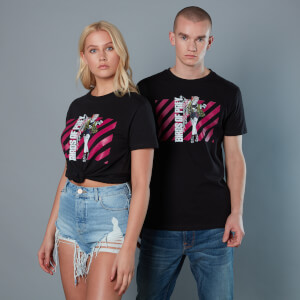 T-Shirt Harley Quinn Pink Stripes Birds of Prey - Nero - Unisex
