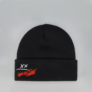 Harley Quinn Beanie Hat With Embroidery - Black