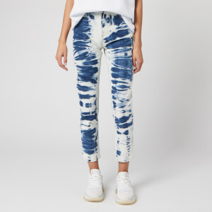 MSGM Women's Bleached Jeans - Blue/ White