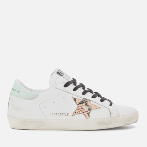 Golden Goose Deluxe Brand Women's Superstar Trainers - White/Printed Orange Snake Star