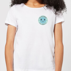 Ok Boomer Blue Smile Pocket Print Women's T-Shirt - White