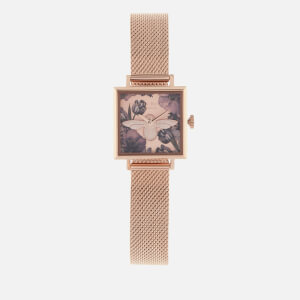 Olivia Burton Women's Exclusive Square Dial 3D Floral Mesh Watch - Rose Gold
