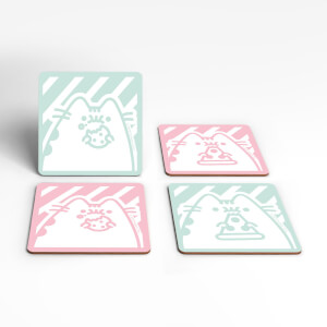 Pusheen Eating Junk Food Square Coaster Set