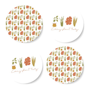 Burnt Orange Crazy Plant Lady Coaster Set