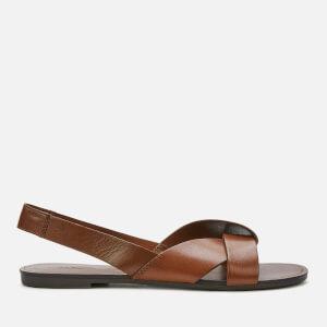 Vagabond Women's Tia Leather Flat Sandals - Cognac