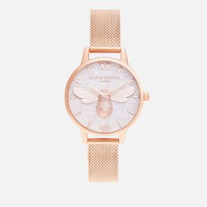Olivia Burton Women's Glitter Dial Lucky Bee Watch - Rose Gold Mesh