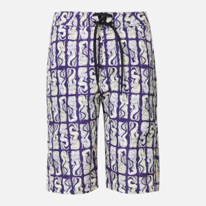 KENZO Men's All Over Print Long Swimshorts - Plum Blue