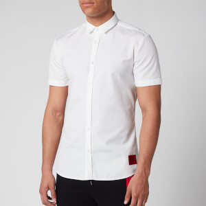 HUGO Men's Empson-W Short Sleeve Shirt - Open White
