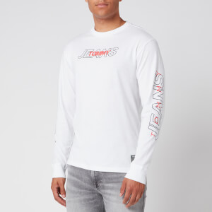 Tommy Jeans Men's Long Sleeve Overlap Logo T-Shirt - White
