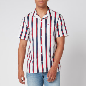 Tommy Jeans Men's Printed Stripe Camp Shirt - White/Multi