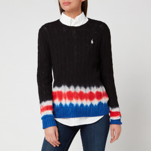 Polo Ralph Lauren Women's Tie Dye Long Sleeve Knitted Jumper - Black/Multi