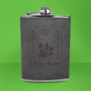 Night Time Campsite Adventurer Engraved Hip Flask - Grey