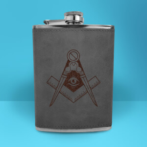 Illuminati Free Mason Symbol Engraved Hip Flask - Grey