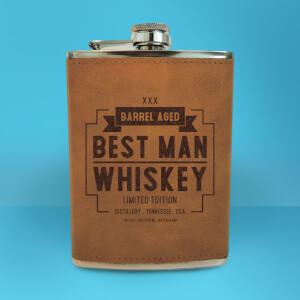 Best Man Whiskey Engraved Hip Flask - Brown