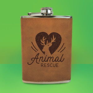 Love Heart Deer Animal Rescue Engraved Hip Flask - Brown