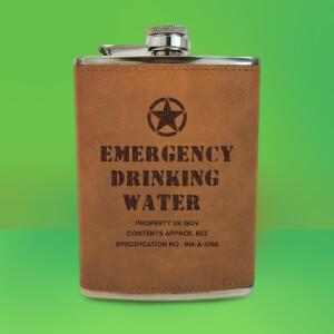 Emergency Drinking Water Army Flask - Brown Engraved Hip Flask - Brown