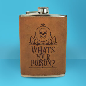 Whats Your Poison? Engraved Hip Flask - Brown