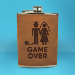 Groom Game Over Engraved Hip Flask - Brown