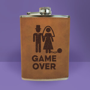 Bride Game Over Engraved Hip Flask - Brown