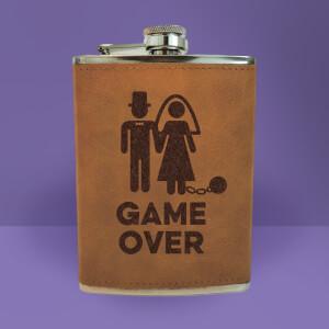 Bride Game Over Engraved Hip Flask - Brown