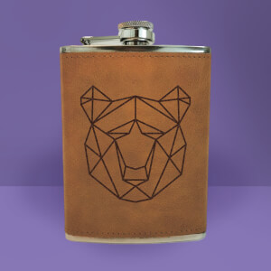 Geometric Bear Head Engraved Hip Flask - Brown