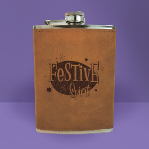 Festive Spirit Engraved Hip Flask - Brown
