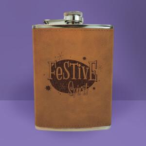 Festive Spirit Engraved Hip Flask - Brown