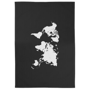 World Map Cotton Black Tea Towel