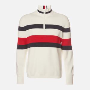 Tommy Hilfiger Men's Bold Global Stripe Zip Mockneck Sweatshirt - Ecru