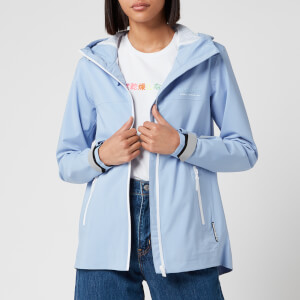 Superdry Women's Long Sleeved Essentials Sleeved Harpa Waterproof Jacket - Blue Heron