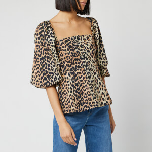 Ganni Women's Printed Cotton Poplin Blouse - Leopard