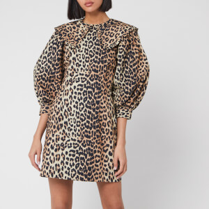 Ganni Women's Printed Cotton Poplin Mini Dress - Leopard
