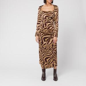 Ganni Women's Ruche Silk Zebra Print Dress - Tannin