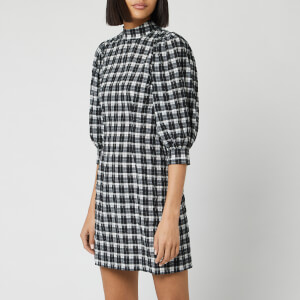 Ganni Women's Seersucker Check Mini Dress - Black