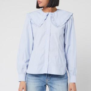 Ganni Women's Stripe Cotton Peter Pan Collar Blouse - Brunnera Blue