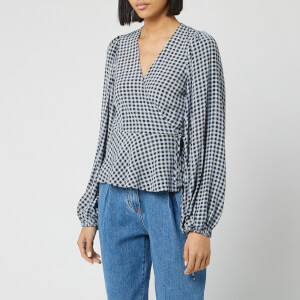 Ganni Women's Checked Printed Crepe Wrap Blouse - Brunnera Blue