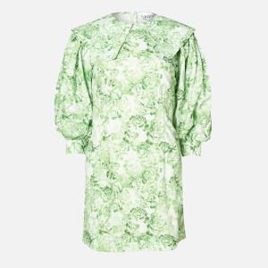 Ganni Women's Floral Cotton Poplin Mini Dress - Island Green