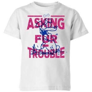 Simons Cat Asking Fur Trouble Kids' T-Shirt - White