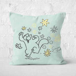 Simons Cat Chasing Butterfly Square Cushion